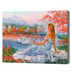 Девушка на берегу озера, 40x50 см, aлмазная мозаика