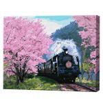 Поезд сквозь аллею сакуры, 40х50 см, картина по номерам Артукул: GX36648