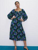 Платье ZARA Черный в цветочек 8710/176/330