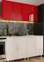 Кухонный гарнитур Bafimob Mini (High Gloss) 1.4m Beige/Red