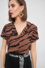 Блуза ORSAY Коричневый с принтом 663437