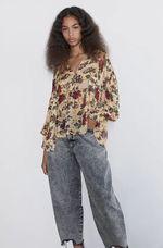 Блуза ZARA Бежевый в цветочек 8351/223/183