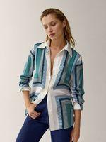 Блуза Massimo Dutti Синий/белый/зеленый 5108/826/518