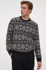 Pulover H&M Negru cu imprimeu