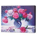 Букет из красных и белых роз, 40х50 см, комбинированный набор роспись по номерам + алмазная мозаика