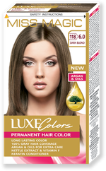 Vopsea p/u păr, SOLVEX Miss Magic Luxe Colors, 108 ml., 118 (6.0) - Blond închis