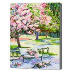 Цветущий весенний сад, 30х40 см, алмазная мозаика Артукул: QS200345