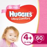 Подгузники для девочек Huggies Ultra Comf 4+ (10-16 kg), 60 шт.