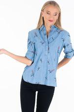 Блуза TOM TAILOR Синий с принтом 1013606