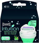 Сменные лезвия для бритва Intuition Sensitive Care, 3 шт., 4 лезвия