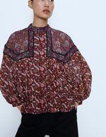 Блуза ZARA Коричневый с принтом 7200/021/330