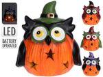 Suvenir Halloween Bufnita cu palarie LED 8cm