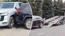 Carambol: Cel puțin 4 mașini noi, scăpate fără control dintr-o remorcă