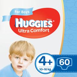 Подгузники для мальчиков Huggies Ultra Comfort 4+ (10-16 kg), 60 шт.