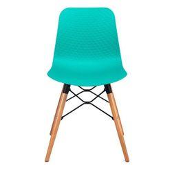 Пластиковый стул, деревянные ножки с металлической опорой, 470x450x795 мм, голубой
