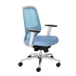 Scaun de birou cu spate din ţesut albastru şi şezut albastru