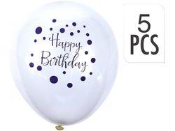 Набор шаров воздушных Happy Birthday 5шт, белые