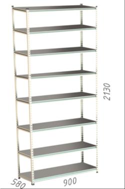 Стеллаж металлический Moduline 900x580x2130 мм, 8 полок/0112PE серый