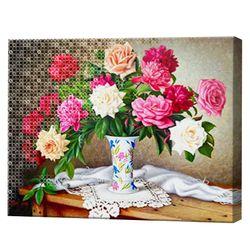 Ваза с розами, 40x50 см, комбо-набор номеров + алмазная мозаика, YHDGJ74899