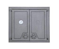 Дверца чугунная глухая двустворчатая с термометром DW6Т