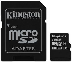 купить Флэш карта памяти Kingston SDCS/16GB, microSD Class10 UHS-I + SD adapter в Кишинёве
