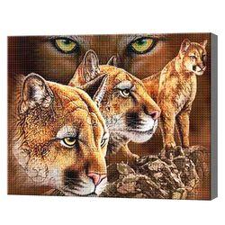 Пумы, 40x50 см, aлмазная мозаика