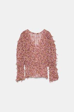 Блуза ZARA Розовый в цветочек 7969/033/046