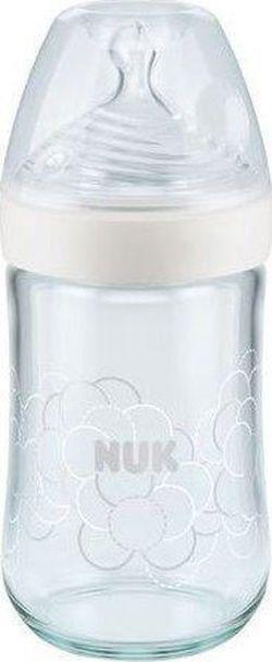 Biberon din sticla NUK NS cu tetina din silicon 240 ml (0-6 luni)