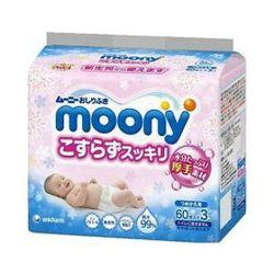 Влажные салфетки для новорожденных Moony (3x60 шт)