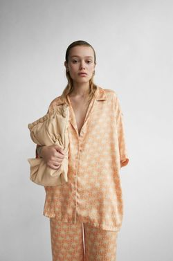 Блуза ZARA Оранжевый с принтом 3067/101/643