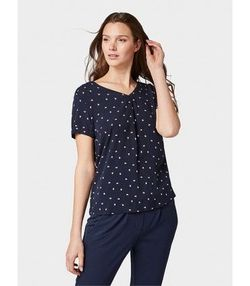 Блуза TOM TAILOR Темно синий с принтом 1008287 16114