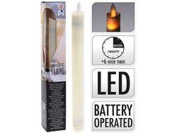 Свеча LED высокая 23cm,с функцией таймера, пластик, белый