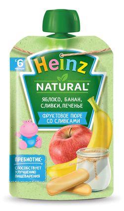 юре HEINZ Яблоко, банан, сливки, печенье 90г (6 месяцев)