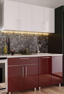 Кухонный гарнитур Bafimob Mini (High Gloss) 1.6m Bordo/White