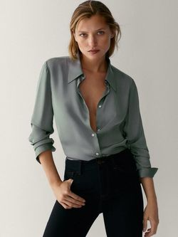 Блуза Massimo Dutti Серый 5145/690/529