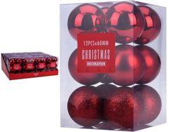 Set de globuri 12X60mm rosii in cutie, 3 modele