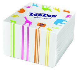 Салфетки столовые ZooZoo 24*23 1 слой 100 штук белые, розовые, желтые, зелёные