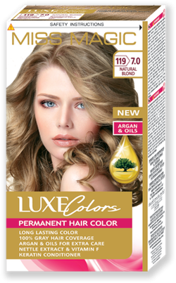 Vopsea p/u păr, SOLVEX Miss Magic Luxe Colors, 108 ml., 119 (7.0) - Blond natural