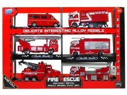 Set masini de pompieri 6buc, 16cm, metal