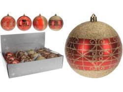 Glob pentru brad cu ornament 80mm rosu