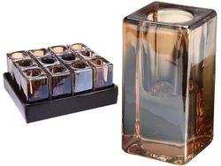 Подсвечник 8X4X4cm, стекло, золотой перламутр