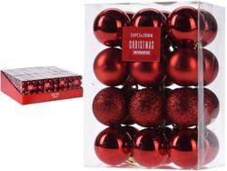 Set de globuri 24X30mm rosii in cutie, 3 modele