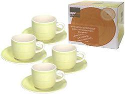 купить Набор посуды Promstore 39449 Набор чашек 4шт 220ml для чая с блюдцами Gypsy Lime в Кишинёве