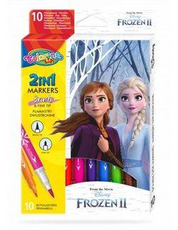 Набор фломастеры 2 в 1, 10 цветов - Colorino Disney Frozen