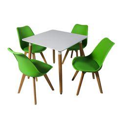 DT E10 белый столовый набор + 4 зеленых 7053 стула