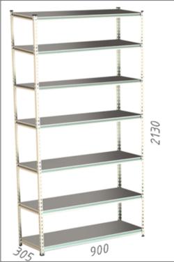 Стеллаж металлический Moduline 900x305x2130 мм, 7 полок/0112PE серый
