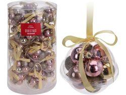 Set de globuri 12X30mm,3designe, cu panglica, perle-roz