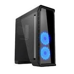 Корпус ATX GAMEMAX Elysium, без блока питания, 2x120 мм, синий светодиод, контроллер вентилятора, USB 3.1, TP, пылевой фильтр, черный