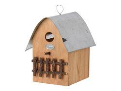 Casuta din lemn pentru pasari 20X18X15cm, acoperis metalic, 2 culori