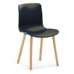 Scaun din plastic cu picioare din lemn, negru
